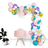 Shimmer and Confetti 94 Pack Mermaid and Unicorn Balloon Arch and Garland Kit with 10 Confetti Balloons, 75 Matte Pink, Purple, White, Aqua and Mint Green Balloons, 4 Foil Balloons, 16 foot Decorating Strip, Fishing Line and Glue Dots