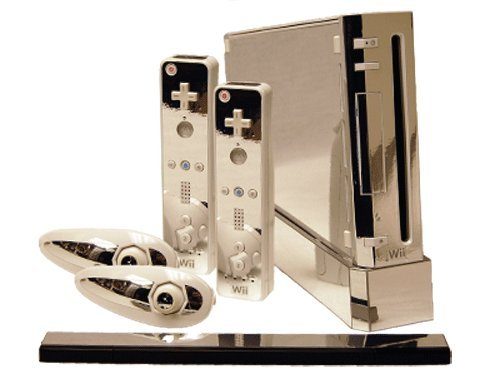 Silver Chrome Mirror Vinyl Decal Faceplate Mod Skin Kit for Nintendo Wii Console by System Skins