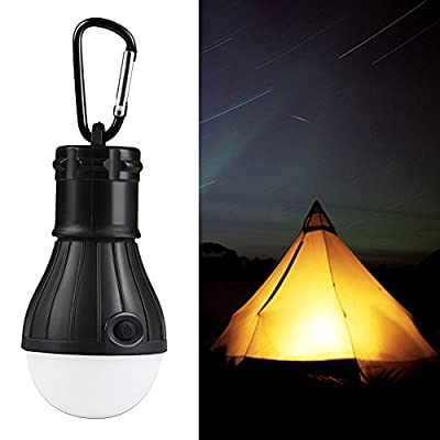 LED Tent Light, Portable Waterproof Mini Energy Saving Light Lantern Bulb - Battery Powered Camping Lamp Equipment Gear Gadgets Lamp for Hiking, Fishing(Black)