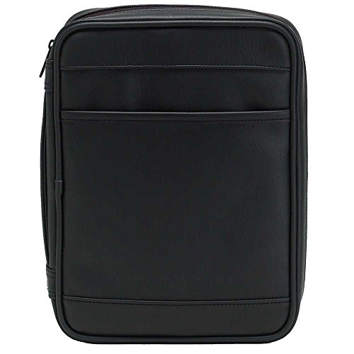 Black Outer Pocket Leather Like Vinyl Bible Cover Case with Handle X-Large