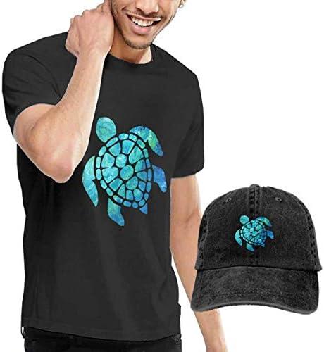 Baostic Herren Kurzarmshirt Green Sea Turtle T-Shirts and Caps, Black Fashion Sport Casual T-Shirt + Cowboy Hat Set for Men