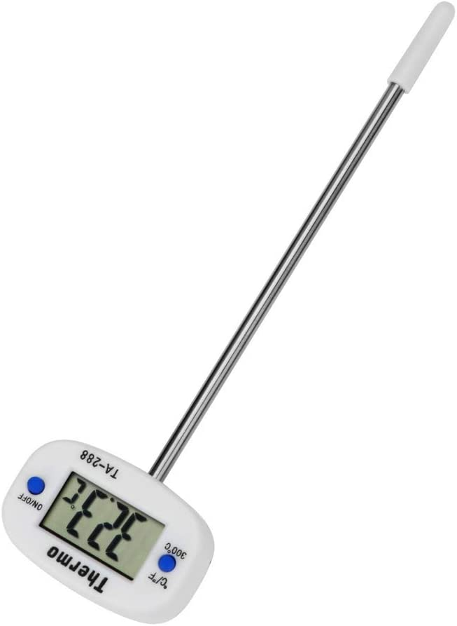 Batterietemperatur-Instrument Temperatursensor f/ür Grill Kochthermometer K/üchenwerkzeug mit Knopf Digitales LCD-Display mit Sonde