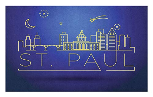 Ambesonne Minnesota Doormat, Doodle Art St Paul City Skyline in a Starry Night Modern Style Typography, Decorative Polyester Floor Mat with Non-Skid Backing, 30 W X 18 L Inches, Indigo -