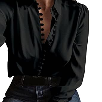 AmyDong Hot Sale! Women's Blouse, Leisure Long Sleeve Lapel Single Row Buckle Shirt Casual Sexy Comfort (2XL, Black)