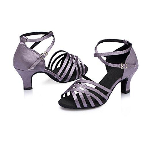 Ballroom Dance Salsa Women's Latin Peep W161 Toe Tango Gray Shoes Dance Buckle Shoesland Heel Chunky PAzwZnRq