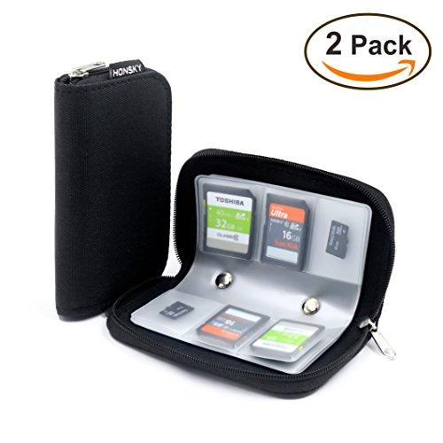 2 Set Memory Card Holder, HONSKY 22 Slot SD CF SDHC SDXC MMC Micro SD SecureDigital Memory CompactFlash Cards Carrying Cases & Sleeves Bags Media Storage & Organization - Black