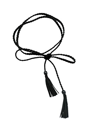 - Women Waist Belt PU Leather Waist Chain/Rope with Tassel Beads Vintage Style 57 inch (black)