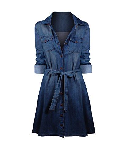 Women's Denim A-Line Dress - Hot Hollywood Fashion