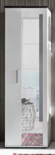 Dreams4Home Garderobenschrank 'Maria III',Garderobe, Schrank, Standschrank,Hochschrank,Diele/Flur (B/H/T) ca. 60 x 195 x 38 cm, Pinie weiß Abs. Touchwood dunkelbraun