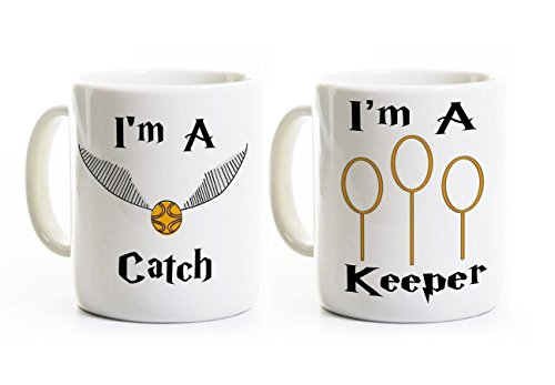 I'm a Catch - I'm a Keeper Mugs - Couples Mugs - His and Her Wedding Engagement Anniversary Gift - Valentine's Day Perfect Gift - Potter Mugs