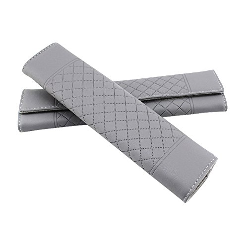 Encell PU Grid Seat Belt Pad Shoulder Strap,Gray