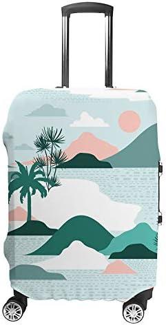 スーツケースカバー トラベルケース 荷物カバー 弾性素材 傷を防ぐ ほこりや汚れを防ぐ 個性 出張 男性と女性現代の紙カット風景