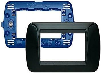 SL4803NRS Soporte y Placa a 3/m/ódulos Negro Blanco Bticino sl4803bas Living Kit