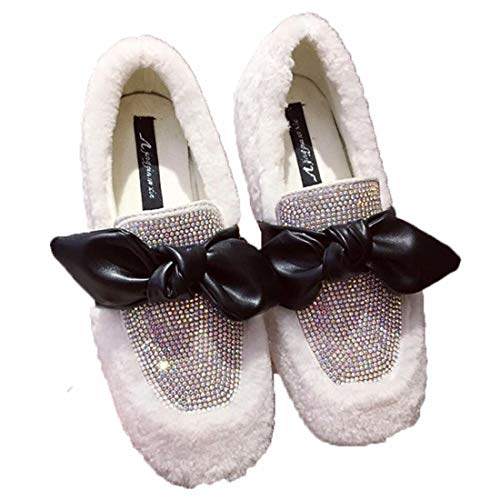 Style Hiver Velours Cravate Plates Zhaoxiangxiang Nouveau Diamant White Fashion Casual Confortables Chaussures Bean 8w4qXYw
