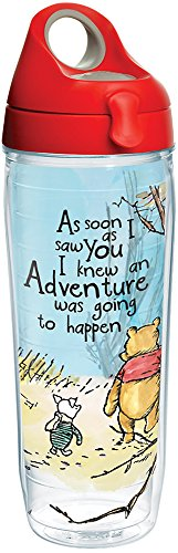 Tervis 1269237 Disney - Winnie the Pooh Adventure Insulated Tumbler with Wrap and Red with Gray Lid, 24 oz Water Bottle (Tervis Bear Water Bottle)