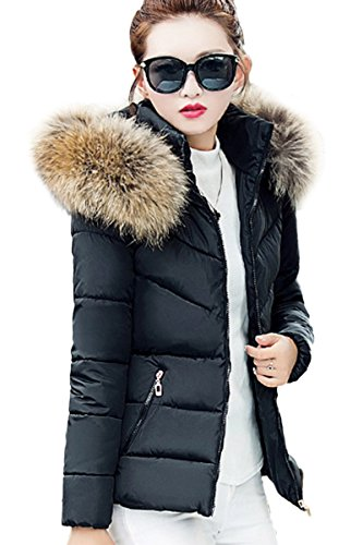 e3d8411a9fdb YMING Women s Winter Down Coat Cotton Parka Fur Faux Hooded Quilted Coat