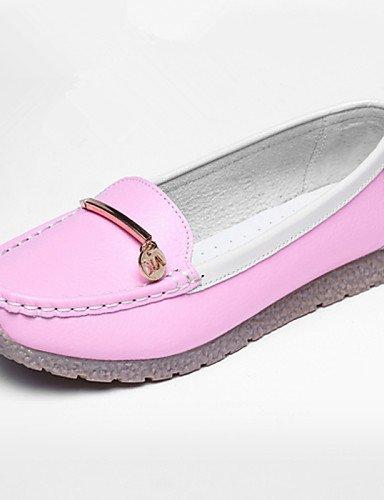 ZQ pink us8 Redonda 5 us8 cn40 Mocasines Rosa Rojo Cuero uk6 mujer 5 5 Casual de Tacón Plano Punta pink cn40 Amarillo eu39 5 pink Azul Zapatos eu39 cn36 uk4 eu36 gyht Exterior uk6 us6 r1x0Ar