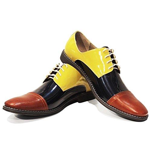 PeppeShoes Modello Fiko - Handmade Italiano da Uomo in Pelle Giallo Scarpe da Sera - Vacchetta Pelle di Brevetto - Allacciare