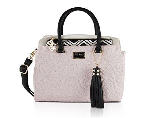 Betsey Johnson Rose Quilt Removable Chevron Pouch Purse Satchel Bag - Blush (Purse Handbag Quilt)