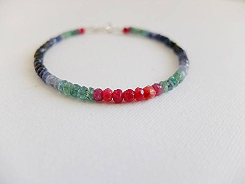 Multi gem unusual gemstone bracelet with raw red Ruby, red agate,shaded green emerald and midnight blue sapphire,black sapphire,ruby emerald 4 mm