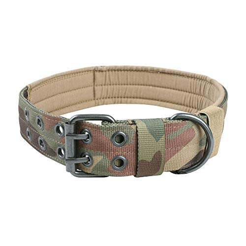 EXCELLENT ELITE SPANKER Nylon Tactical Dog Collar Military Adjustable Training Dog Collar with Double Metal D Ring Buckle(MCP-M)