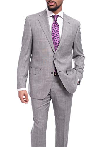 (Napoli Classic Fit Light Gray Glen Plaid Half Canvassed Super 150s Wool Suit)
