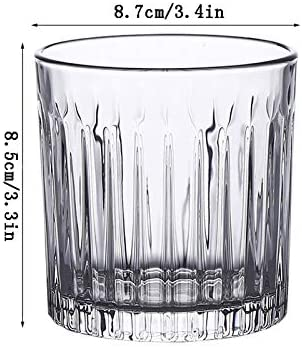 YIFEI2013-SHOP Vasos Cristal Vidrio de cóctel de Rayas de Estilo japonés, Lasses Retro Spiritgo, Bar Classic Special Whisky Glass, Vodka Scotch, Ron, Gin, Cognac Vasos de Agua (Color : Clear)