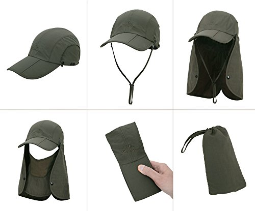 EPYA Sun Hat Outdoors Quick Dry UV Protection Safari Hat w/Flap Neck,Army Green by EPYA (Image #3)