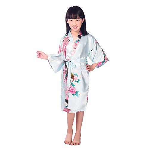 Amzchoice Girls' Satin Kimono Robe Peacock Wrap Sleepwear Bathrobe Nightgown Spa Wedding Birthday (2# Height 27.5-31.5'', Skyblue) 29' Bath