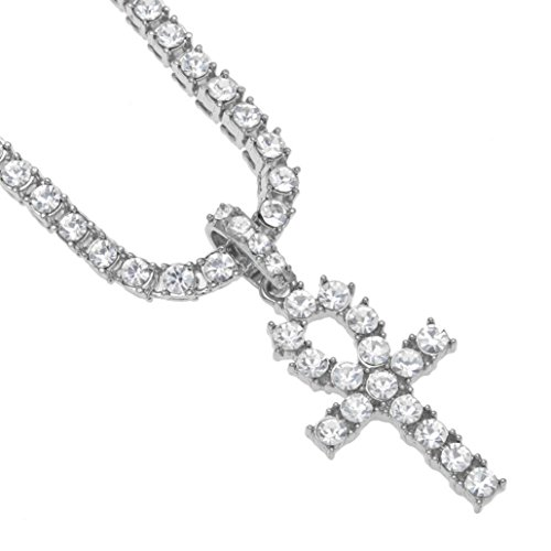 (Long Sweater Chain Key Cross Pendant Necklace Cuekondy Hip Hop Rhinestone Crystal Charm Statement Jewelry for Men Women Girls (Silver, 20inch))