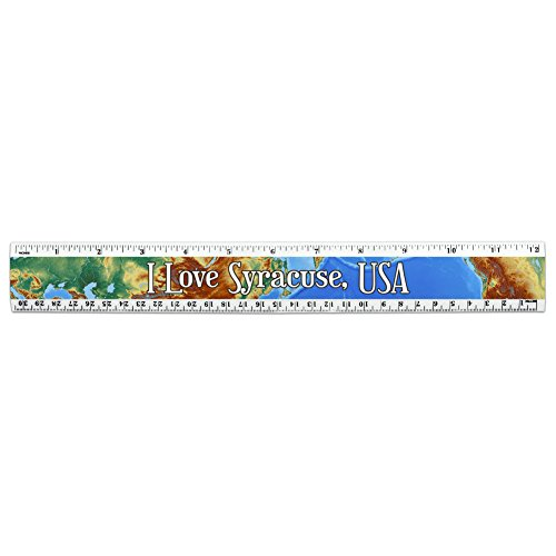 I Love Heart City Country S 12 Inch Standard and Metric Plastic Ruler - Syracuse - Syracuse Usa