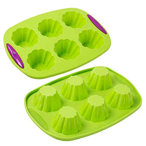 Webake Silicone Brioche Molds, 6 Cup Fluted Brioche Pans for Baking, Pudding, Tart, Muffin Cake Pan Flower Cake Mold Egg Bites Bakeware Set 2 Pack
