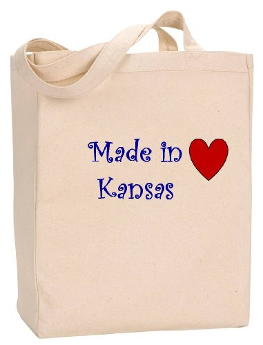 MADE IN KANSAS - State Series - Natural Canvas Tote Bag with - Shopping Kansas Wichita In
