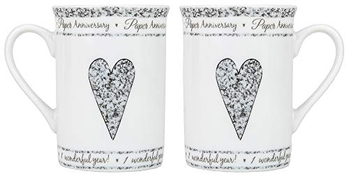 Beautifully Designed 1st Paper Wedding Set of Ceramic Mugs Dishwasher and Microwave Safe with Decorative Keepsake Box by Happy Homewares