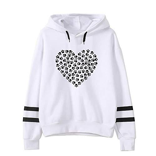 Sunhusing Ladies Dog Paw Love Heart Pattern Printing Hoodie Stripe Long Sleeve Top Shirt ()