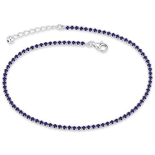 - NYC Sterling Women Sterling Silver Cubic Zirconia Anklet Bracelet (Sapphire)