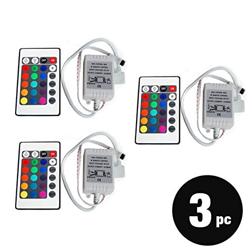 (50% Clearance) 3-Pack 24 key IR Remote controller for 3528 5050 RGB SMD LED Strip 12V