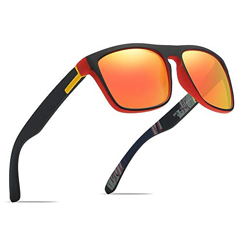 Polarized Sports Sunglasses Driving Glasses Shades for Men Square Box Sun glasses Guy's Classic Design All-Fit Mirror Sunglasses With Brand Box (Black Red-Red)