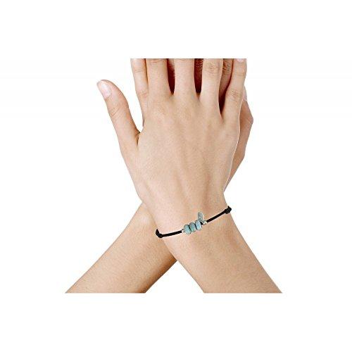 Les Poulettes Bijoux - Bracelet Lien Noir et 3 Anneaux de Larimar et Deux Perles Argent
