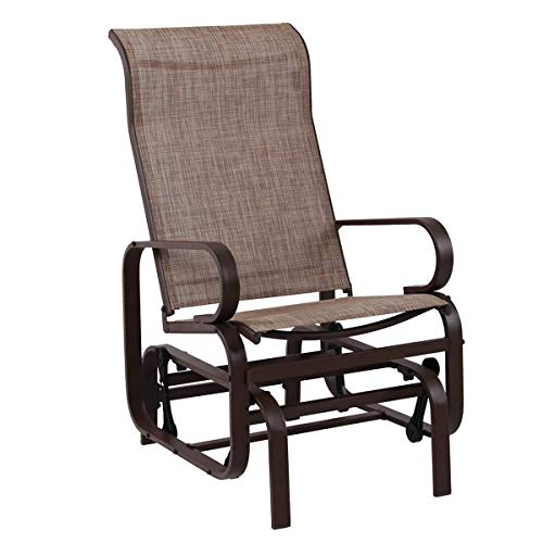 - Bistro Swing Glider Chair Patio Rocking Chair Garden Furniture, Textilene Mesh Metal Steel Frame, Single Glider