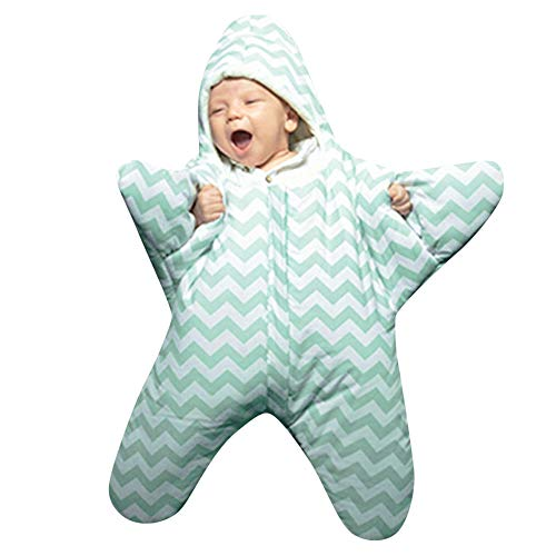 FEITONG Infant Baby Boys Girls Star Sleeping Bag Striped Swaddle(12-24M,Green) by FEITONG