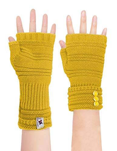 Dahlia Womens Knit Fingerless Gloves; Hand, Wrist, and Arm Warmers