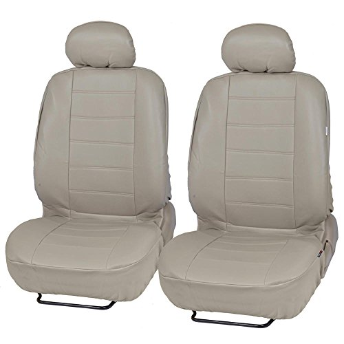 Taupe Leather Seat (Custom Auto Crews - Taupe Beige PU Leather Seat Covers Front Pair Set of 2 - Leatherette Grade)
