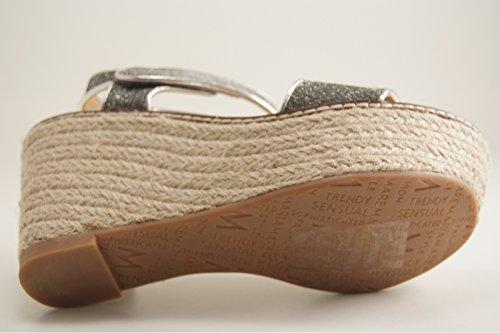 Sandalia plata pasada velcro Cuña y plataforma esparto