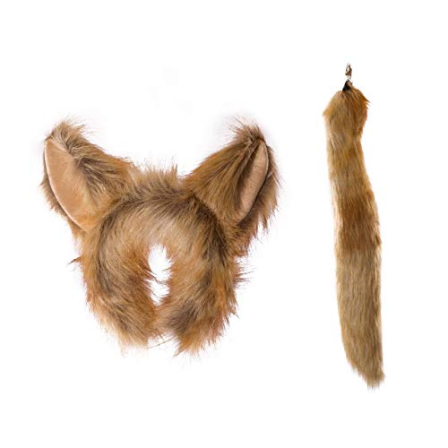 Wildlife Tree Plush Fennec Fox Ears Headband and Tail Set for Fennec Fox Costume, Cosplay, Pretend Animal Play or Safari Party -