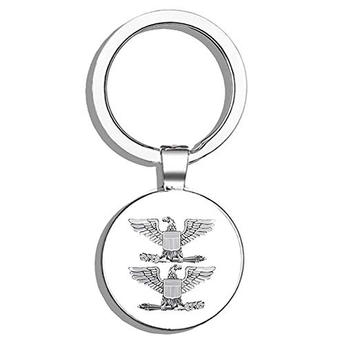 HJ Media US Air Force Colonel Officer Rank Insignia Military Veteran USA Pride Served Metal Round Metal Key Chain Keychain Key Ring