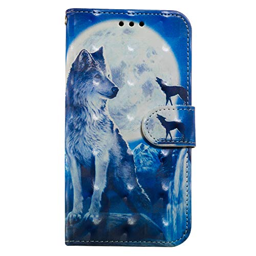 Maoerdo Moto G6 Play Wallet Case,3D Beauty Luxury Fashion PU Flip Stand Credit Card ID Holders Wallet Leather Case Cover ffor Motorola Moto G6 Play - Wolf
