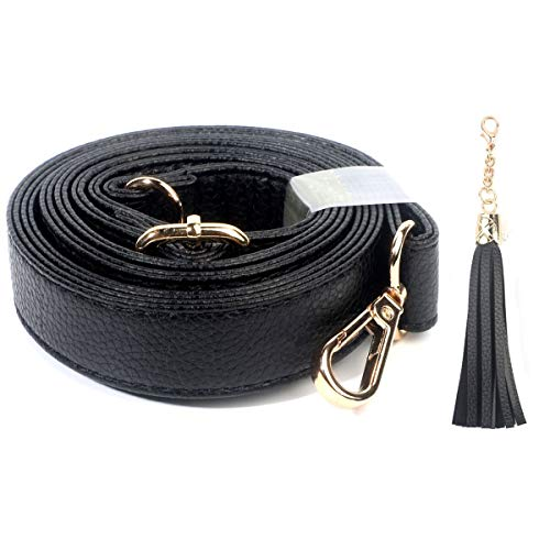 Beaulegan Purse Strap Replacement - Microfiber Leather - Adjustable for Crossbody Bag or Handbag - 34-59 Inch Long 1 Inch Wide, Black with Gold Clasp