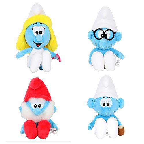 Smurfs Smurfette Hefty Papa Brainy Set, Stuffed Animals Plush Toy Gift for Kids Backpack Clip 8