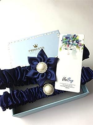 Unibuy Wedding Garter Set with Navy Blue Silk Flower Add Vintage Pearls